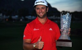 Jan 21, 2018; La Quinta, CA, USA; Jon Rahm celebrates with the trophy after the final round of the CareerBuilder Challenge golf tournament at PGA West TPC Stadium Course., Image: 360905995, License: Rights-managed, Restrictions: *** World Rights ***, Model Release: no, Credit line: Profimedia, SIPA USA
