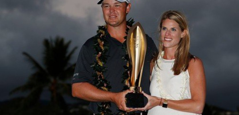 Jan 14, 2018; Honolulu, HI, USA; PGA golfer Patton Kizzire with his wife Kary Kizzire pose with the trophy after winning the Sony Open golf tournament at Waialae Country Club., Image: 360178016, License: Rights-managed, Restrictions: *** World Rights ***, Model Release: no, Credit line: Profimedia, SIPA USA
