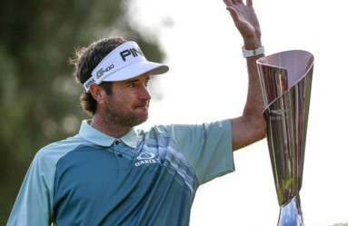 (180219) -- LOS ANGELES, Feb. 19, 2018 (Xinhua) -- Bubba Watson of the United States waves in front of the trophy after the final round of the PGA Tour Genesis Open golf tournament in Los Angeles, the United States, Feb. 18, 2018. Watson won the Genesis Open. (Xinhua/Zhao Hanrong) - Zhao Hanrong -//CHINENOUVELLE_7560202/Credit:CHINE NOUVELLE/SIPA/1802190832, Image: 363660531, License: Rights-managed, Restrictions: , Model Release: no, Credit line: Profimedia, TEMP Sipa Press