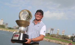 Eddie Pepperell of England poses with the winners trophy after winning the final round of the Qatar Masters golf tournament at the Doha Golf Club in Doha, on February 25, 2018., Image: 364295436, License: Rights-managed, Restrictions: , Model Release: no, Credit line: Profimedia, AFP