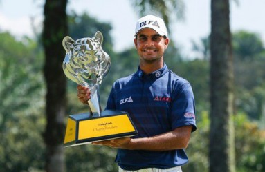 Shubhankar Sharma of India poses with the trophy after winning the 2018 Maybank Championship golf tournament in Kuala Lumpur, Malaysia, 04 February 2018.  EPA-EFE/, Image: 362252195, License: Rights-managed, Restrictions: , Model Release: no, Credit line: Profimedia, TEMP EPA