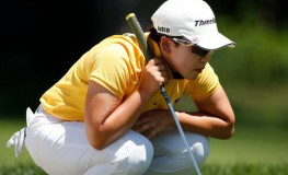 Jul 2, 2017; Olympia Fields, IL, USA; Jiyai Shin lines up her putt on the third green during the final round of the KPMG Women's PGA Championship golf tournament at Olympia Fields Country Club - North., Image: 340126576, License: Rights-managed, Restrictions: *** World Rights ***, Model Release: no, Credit line: Profimedia, SIPA USA