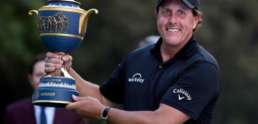 US golfer Phil Mickelson holds his trophy at tee 18, after winning the World Golf Championship in Mexico City, on March 4, 2018. Five-time major winner Phil Mickelson seized his first title in nearly five years on Sunday as he edged Justin Thomas in a playoff to win the WGC Mexico Championship., Image: 365049792, License: Rights-managed, Restrictions: , Model Release: no, Credit line: Profimedia, AFP